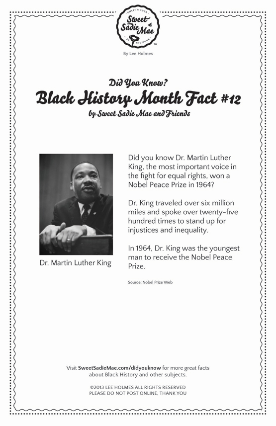 Nobel Peace Prize in 1964 Dr. Martin Luther King