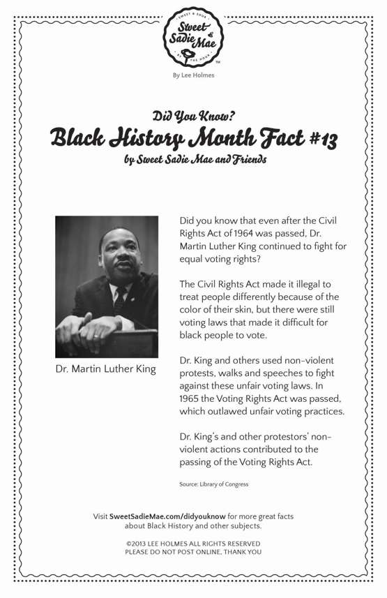Civil Rights Act & Voting Rights Act Dr. Martin Luther King BLACK HISTORY MONTH FACT